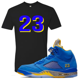 This black and blue t-shirt will match great with your Jordan 5 Alternate Laney JSP shoes