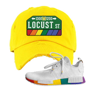 NMD R1 Pride Distressed Dad Hat | Yellow, Locust Street Sign
