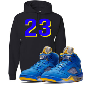 This black and blue hoodie will match great with your Jordan 5 Alternate Laney JSP shoes