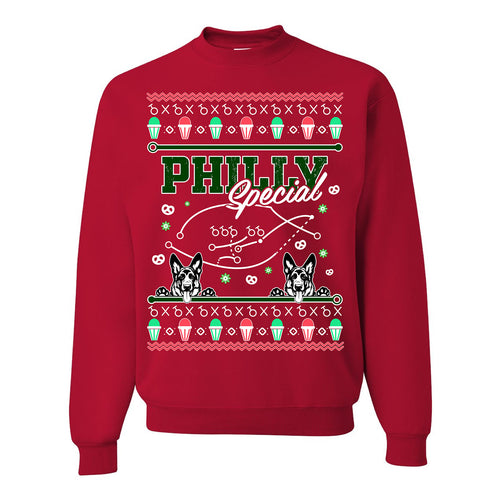 FOOT CLAN | UNDERDOG PHILLY SPECIAL UGLY SWEATER | KIDS CREWNECK SWEATSHIRT | RED