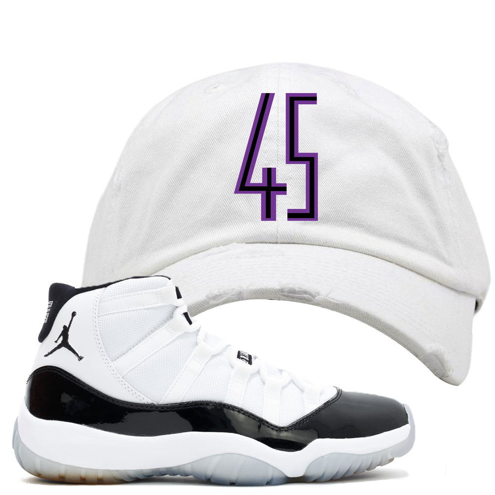 b8f91009a20cc This Jordan 11 Concord white distressed dad hat is the perfect hook up to  your pair