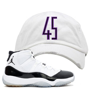 This Jordan 11 Concord white distressed dad hat is the perfect hook up to your pair of Jordan 11 Concords