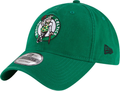 Embroidered on the front of the Boston Celtics dad hat is the Boston Celtics logo in green, white, and black