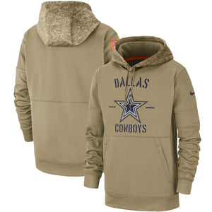front of back  Cowboys Hoodie |  2019 On-Field  Salute To Service Sideline Nike Pullover Hoodie | Dallas cowboys