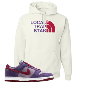 Dunk Low Plum Sneaker White Pullover Hoodie | Hoodie to match Nike Dunk Low Plum Shoes | Local Trap Star