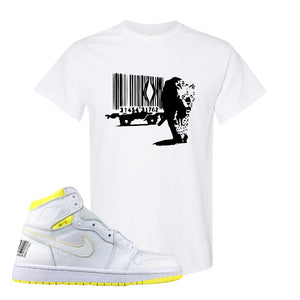 Air Jordan 1 First Class Flight Barcode Leopard White Sneaker Matching T-Shirt