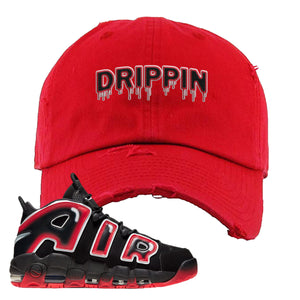 Air More Uptempo Laser Crimson Distressed Dad Hat | Red, Drippin