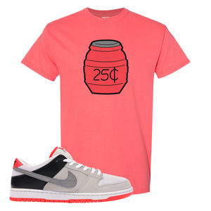 Nike SB Dunk Low Infrared Orange Label Quarter Water Coral Silk T-Shirt To Match Sneakers