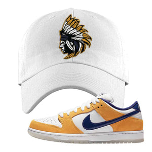 SB Dunk Low Laser Orange Dad Hat | White, Indian Chief