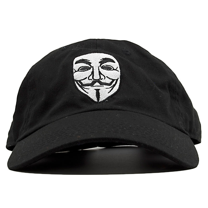 The Anonymous Guy Fawkes V for Vendetta dad hat features the Anonymous mask embroidered on the front of the hat in white and black.