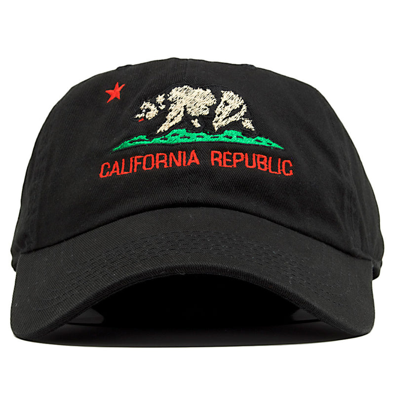 The California Republic Cali Bear black dad hat features the state of California's logo embroidered on the front of the dad hat in brown, green and red.