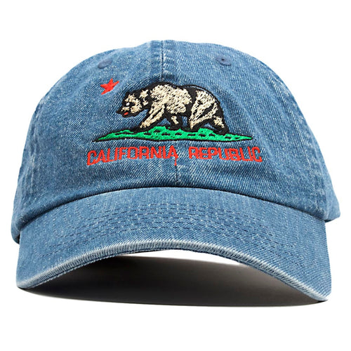 The light denim California Republic Cali Bear dad hat features the California Republic logo embroidered on the front of a denim dad hat in green, brown and red.