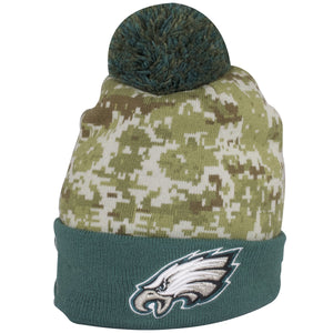 The base of this Salute to Service Philadelphia Eagles Beanie is a digi camo pattern design.