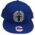 on the front spider-man kid's sized solid blue snapback hat, the spider man logo is embroidered in black and white on raised blue crown and blue flat brim