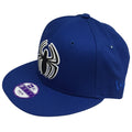 on the left side of the spider man solid blue kid's sized snapback hat the new era logo is embroidered in blue