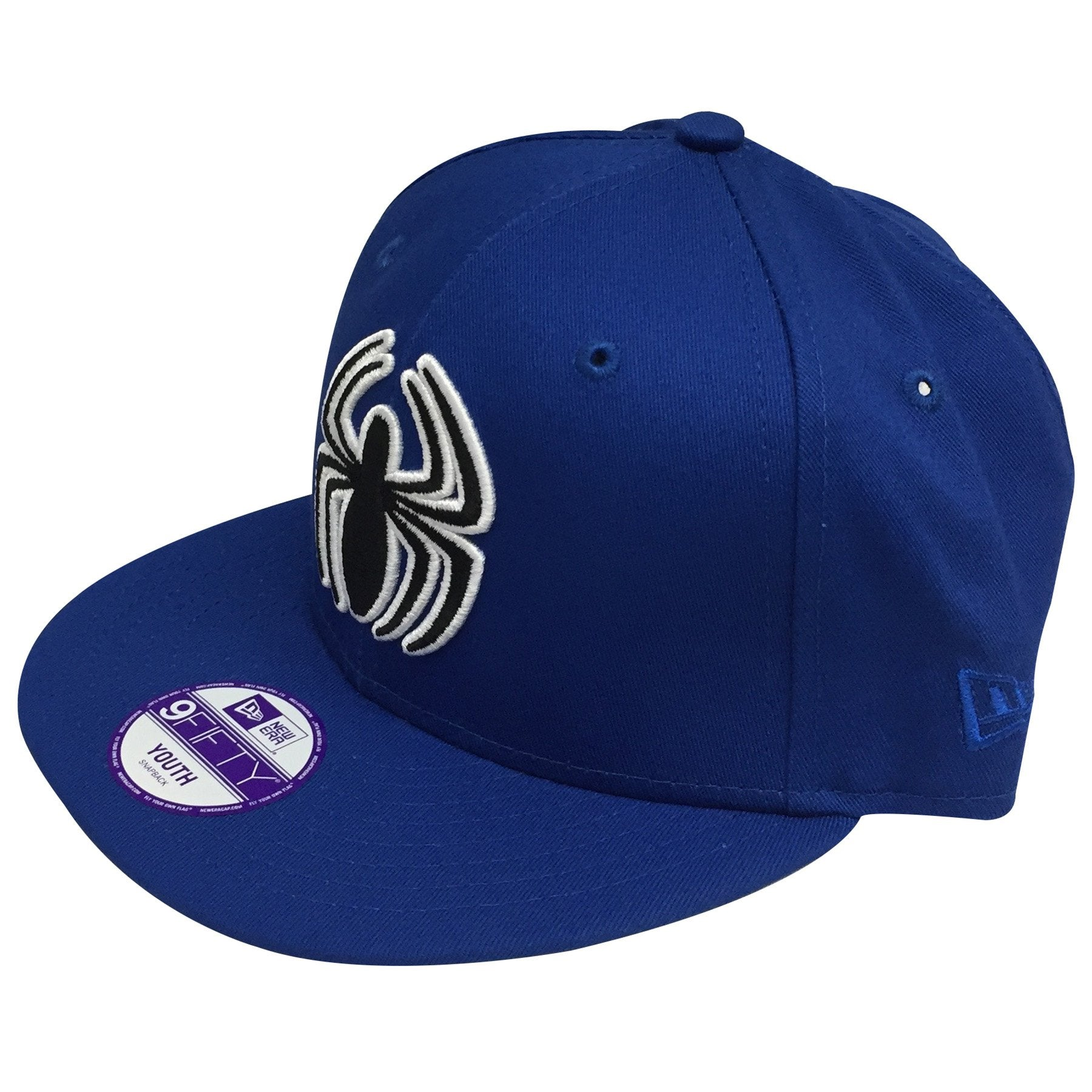 5625af0b8b1 ... on the left side of the spider man solid blue kid s sized snapback hat  the new ...