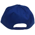 on the back of the spider-man kid's sized solid blue snapback hat there is a blue adjustable snap