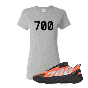 700 Ash Women's T-Shirt to match Yeezy Boost 700 MNVN Orange Sneaker