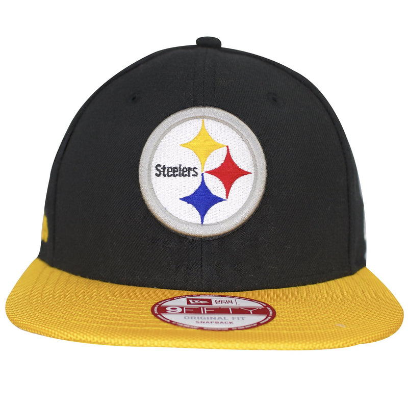 on the front of the pittsburgh steelers sideline snapback hat is the steelers logo embroidered in yellow, red, blue, black, white, and gray