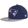 on the left side of the new england patriots sideline snapback hat is the new era logo embroidered in white