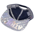 the under brim of the new england patriots sideline snapback hat is a hologram patriots logo and wordmark