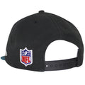The back left of this Jacksonville Jaguars Sideline Snapback is the NFL logo embroidered in red, white, and blue directly on the left of the black adjustable snap.