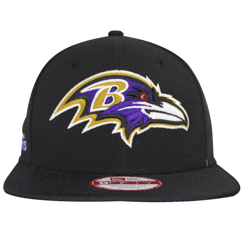 the baltimore ravens sideline on field snapback hat is solid black with a black crown and black flat brim
