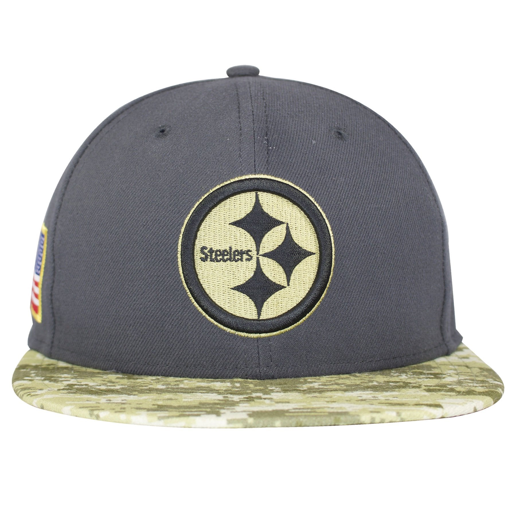 the pittsburgh steelers 2016 salute to service fitted cap has a gray  structured crown and a 71539053108