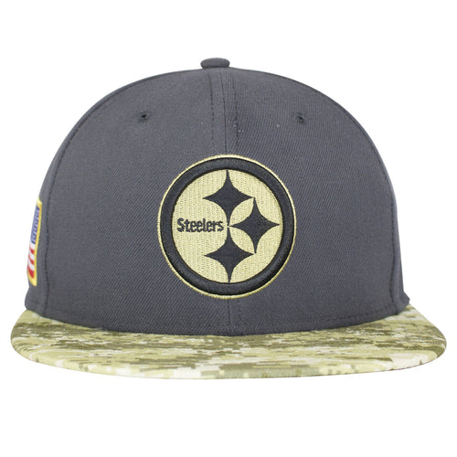 the pittsburgh steelers 2016 salute to service fitted cap has a gray structured crown and a digital camouflage flat brim with a green and gray steelers logo embroidered on the front
