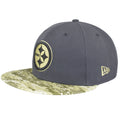 on the left side of the pittsburgh steelers 2016 salute to service fitted cap is the new era logo embroidered in green