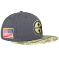 on the right side of the nfl pittsburgh steelers salute to service fitted cap is a usa flag embroidered in red, white, and blue