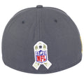 on the back of the pittsburgh steelers nfl salute to service 2016 fitted cap is the nfl veterans ribbon