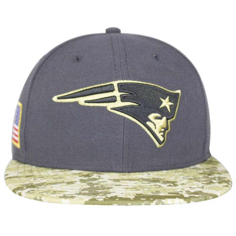 the new england patriots 2016 sideline fitted cap has a gray structured crown and a green and gray new england patriots logo embroidered on the front with a digital camouflage brim