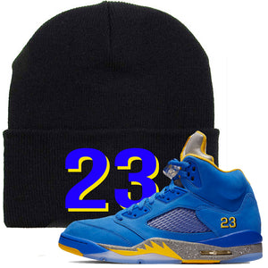 This black and blue beanie will match great with your Jordan 5 Alternate Laney JSP shoes