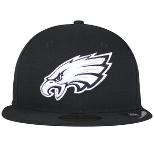 on the front of the Philadelphia Eagles black and white fitted cap, the black and white Eagles logo is embroidered on the front in white and black