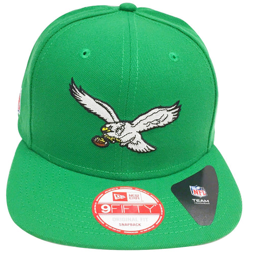 on the front of the kelly green philadelphia eagles snapback hat is the philadelphia phillies throwback logo embroidered in white, black, yellow, and brown on the front of a solid kelly green snapback hat