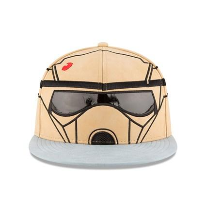 Front shows the design embroidery work of the Scarif Helmet. The eye shields is made with pantet leather