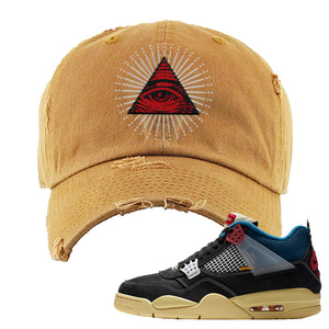 Union LA x Air Jordan 4 Off Noir Distressed Dad Hat | All Seeing Eye, Timber