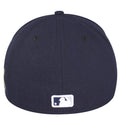 on the back of the new york yankees usa flag patch fitted cap has the mlb logo embroidered in navy blue, white, and agray