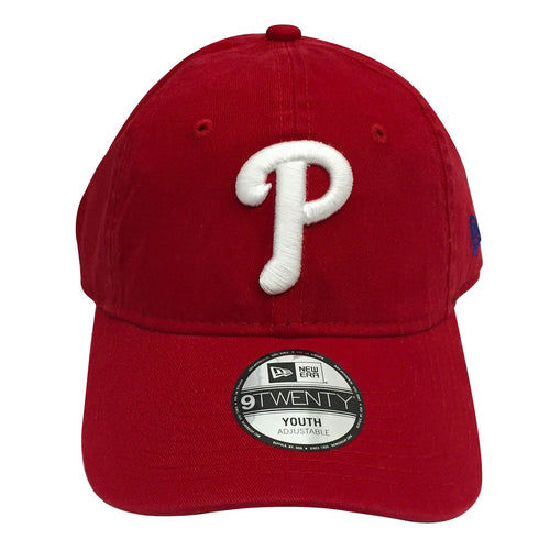 newest c9133 0c989 on the front of the philadelphia phillies kid s sized classic red dad hat,  there is