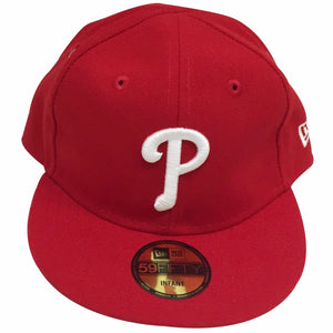 the my first fitted philadelphia phillies infant sized fitted cap is solid red with a philadelphia phillies logo embroidered in solid white on the front