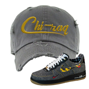 Air Force 1 Low Plaid And Camo Remix Pack Distressed Dad Hat | Chiraq, Dark Gray