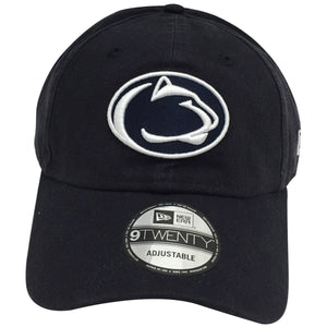 White outlining embroidery logo of the Penn State Nittany Lions is shown on the front of a black unstructured crown baseball cap.