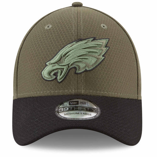 on the front of the philadelphia eagles salute to service stretch fit cap, the eagles logo is solid green