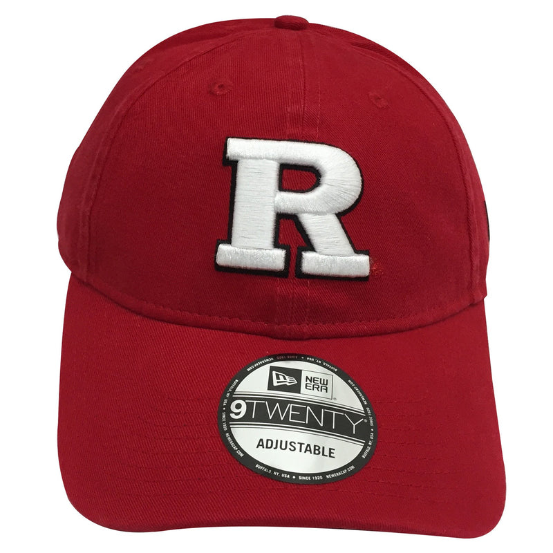 On the front of this Rutgers Scarlet Knights dad hat has the letter R embroidered with black outlining.