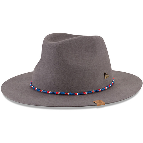 the philadelphia 76ers gray fedora has a high fedora crown and a wide fedora brim