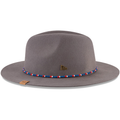 on the left side of the gray philadelphia sixers fedora is a brass new era pin
