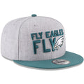 the fly eagles fly Philadelphia Eagles 2018 NFL On-Stage Draft Snapback hat has a high structured heather gray crown and a flat midnight green brim