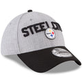 the pittsburgh steelers on-stage 2018 nfl draft 3930 flexfit cap has a heather gray structured crown and a black bent brim