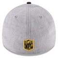 on the back of the pittsburgh steelers 39thirty flexfit 2018 nfl draft hat is the nfl shield logo embroidered in yellow and black